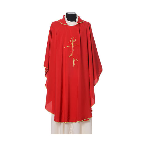 Chasuble with cross embroidered on front and back, ultra lightweight Vatican fabric 4