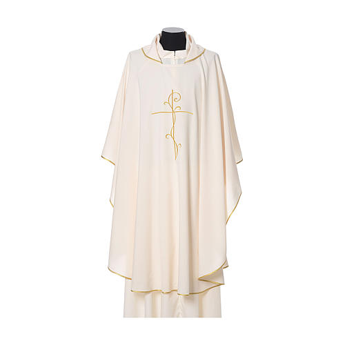 Chasuble with cross embroidered on front and back, ultra lightweight Vatican fabric 5