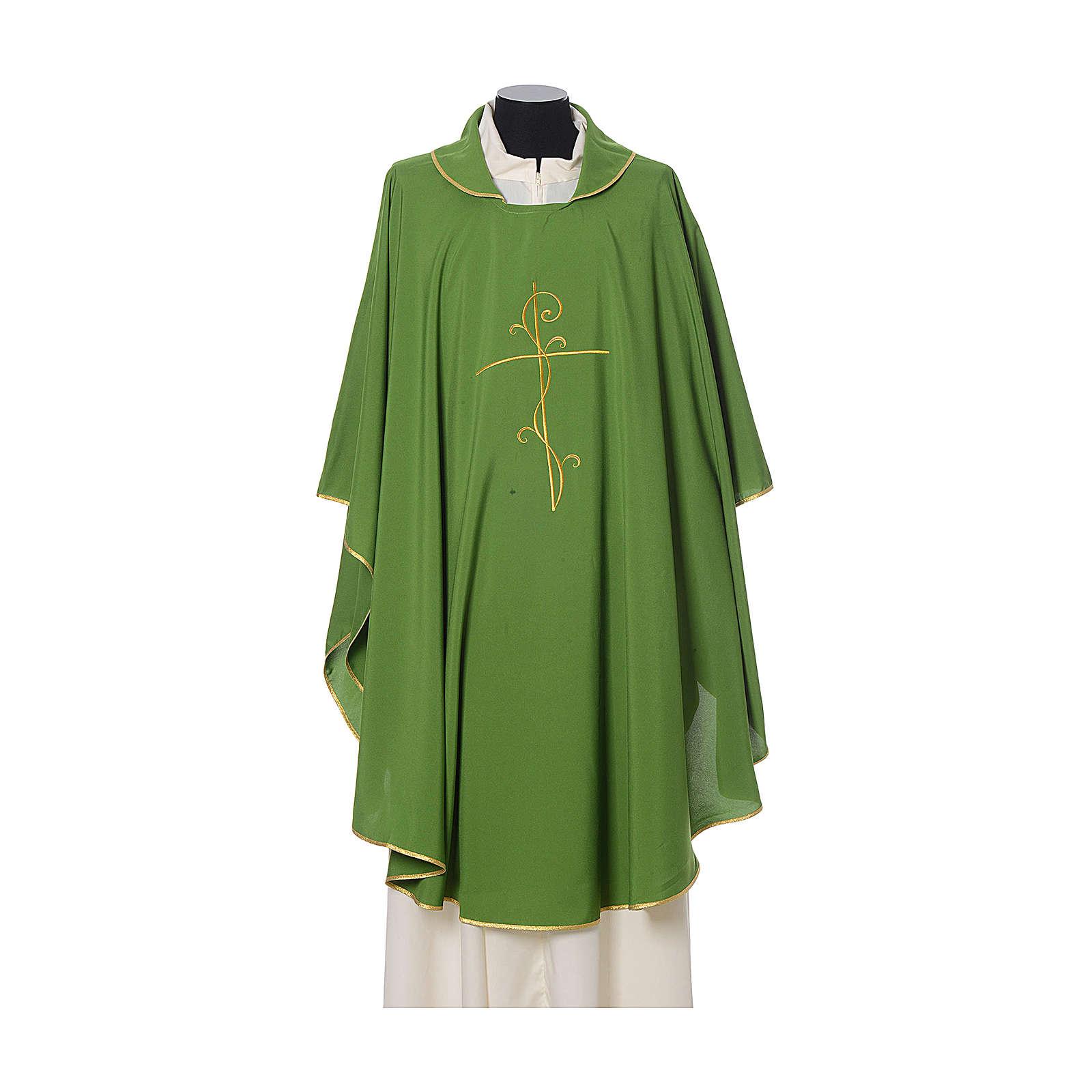 Casulla tejido super liviano Vatican poliéster bordado cruz delante detrás 4