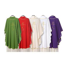 Casulla tejido super liviano Vatican poliéster bordado cruz delante detrás s2