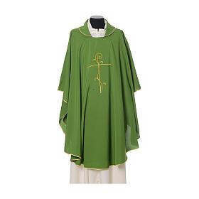 Casulla tejido super liviano Vatican poliéster bordado cruz delante detrás s3