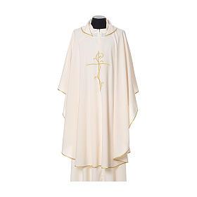 Casulla tejido super liviano Vatican poliéster bordado cruz delante detrás s5