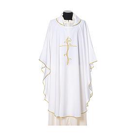 Casulla tejido super liviano Vatican poliéster bordado cruz delante detrás s6