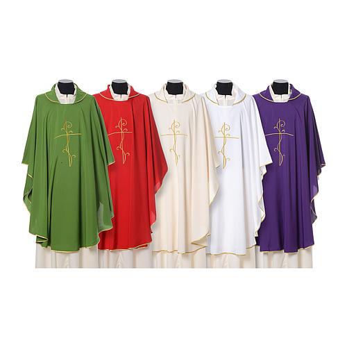 Casulla tejido super liviano Vatican poliéster bordado cruz delante detrás 1