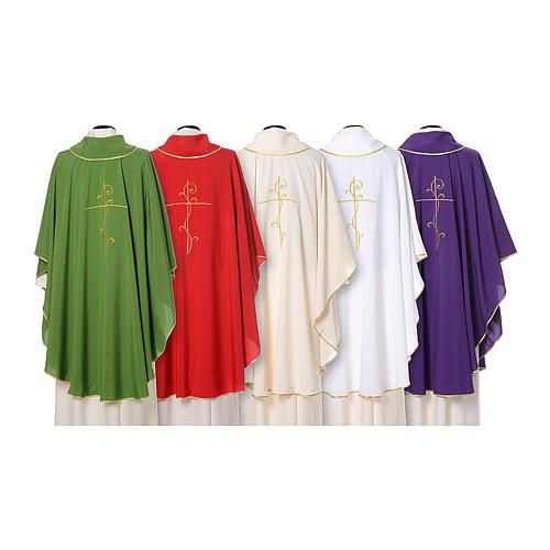 Casulla tejido super liviano Vatican poliéster bordado cruz delante detrás 2