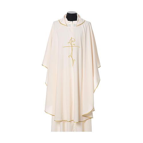 Casulla tejido super liviano Vatican poliéster bordado cruz delante detrás 5