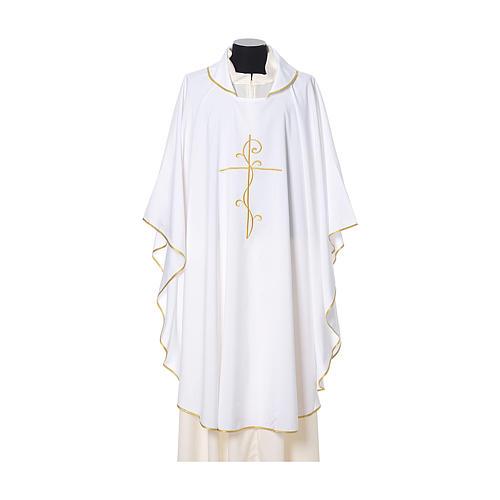 Casulla tejido super liviano Vatican poliéster bordado cruz delante detrás 6