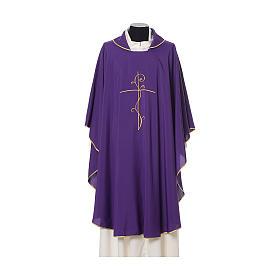 Casula tecido leve Vatican poliéster bordado cruz ambos lados s7