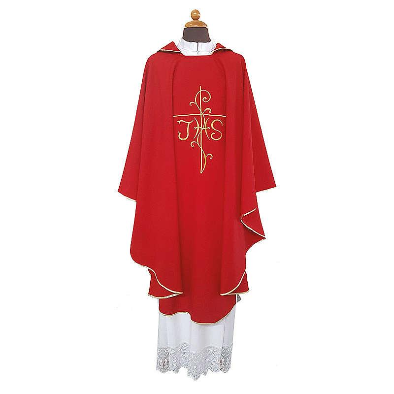 Casula ricamo croce JHS davanti dietro tessuto Vatican 100% poliestere 4
