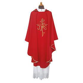 Casula ricamo croce JHS davanti dietro tessuto Vatican 100% poliestere s1