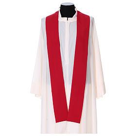 Casula ricamo croce JHS davanti dietro tessuto Vatican 100% poliestere s4