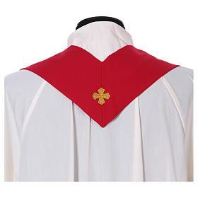 Casula ricamo croce JHS davanti dietro tessuto Vatican 100% poliestere s5