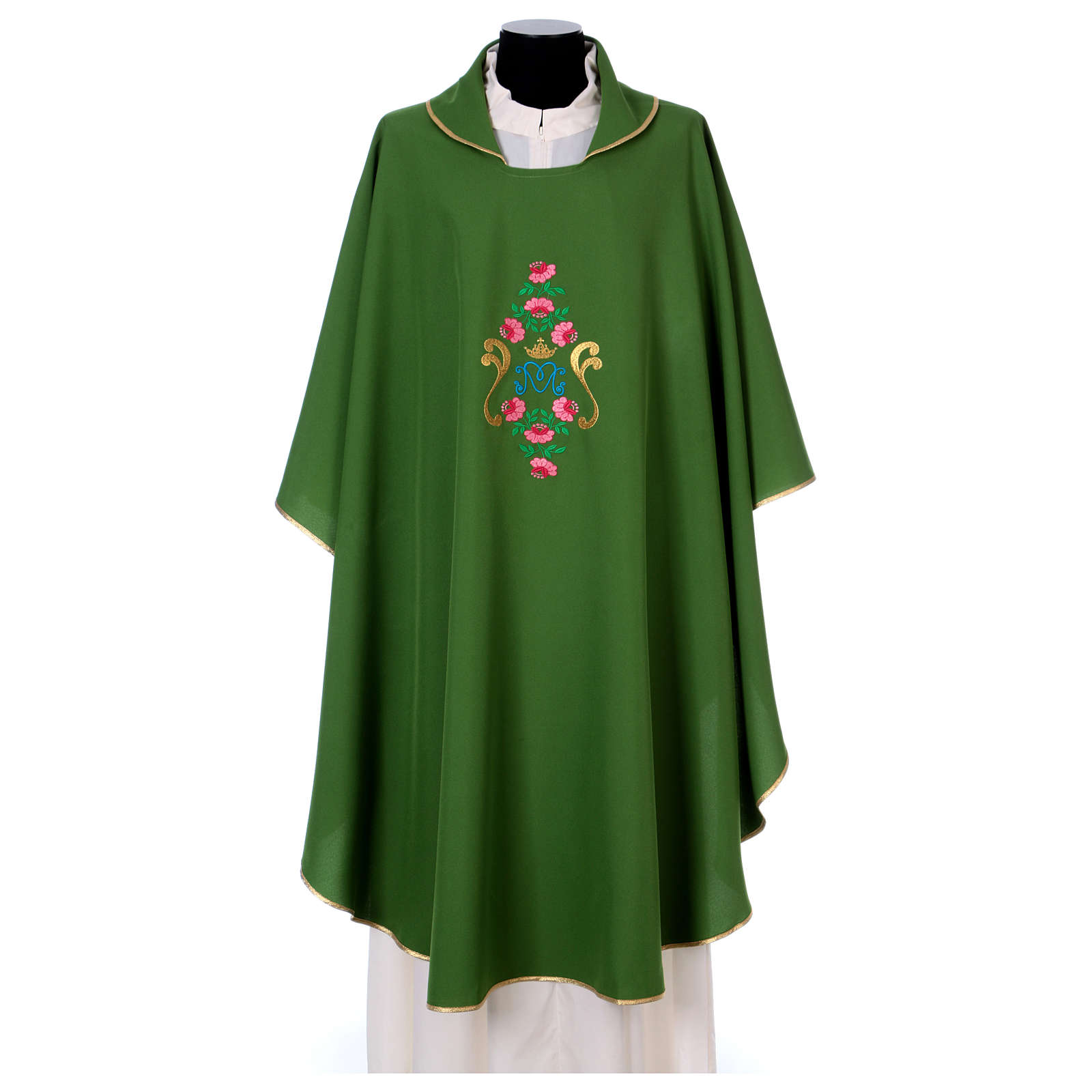 Marian Chasuble with embroidered roses on both sides, Vatican fabric, 100% polyester 4