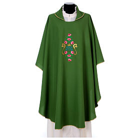 Marian Chasuble with embroidered roses on both sides, Vatican fabric, 100% polyester s1