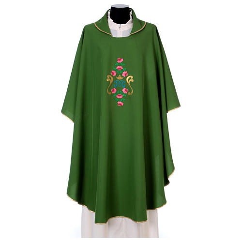 Marian Chasuble with embroidered roses on both sides, Vatican fabric, 100% polyester 1