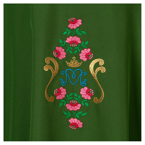 Marian Chasuble with embroidered roses on both sides, Vatican fabric, 100% polyester 2