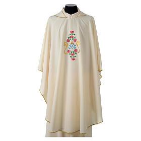 Casula tessuto Vatican poliestere 100% ricamo rose davanti dietro s1