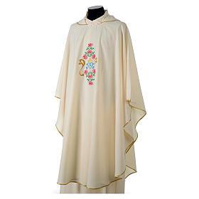 Casula tessuto Vatican poliestere 100% ricamo rose davanti dietro s3