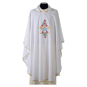 Casula tessuto Vatican poliestere 100% ricamo rose davanti dietro s7