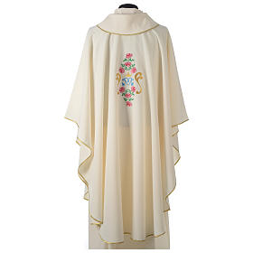 Casula tessuto Vatican poliestere 100% ricamo rose davanti dietro s4