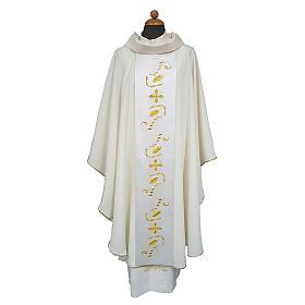 Casullas: Casula estolón raso de algodón bordado delante y detrás 100% poliéster Vatican