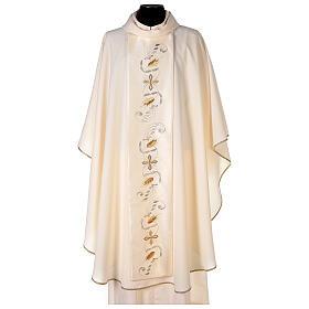 Casula estolón raso de algodón bordado delante y detrás 100% poliéster Vatican s1
