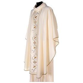 Casula estolón raso de algodón bordado delante y detrás 100% poliéster Vatican s3