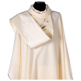 Casula estolón raso de algodón bordado delante y detrás 100% poliéster Vatican s4