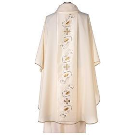 Casula estolón raso de algodón bordado delante y detrás 100% poliéster Vatican s5