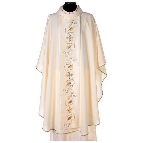 Casula estolón raso de algodón bordado delante y detrás 100% poliéster Vatican 1