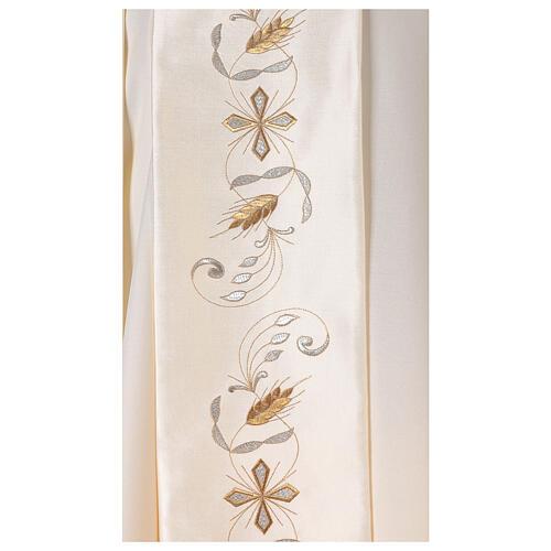Casula estolón raso de algodón bordado delante y detrás 100% poliéster Vatican 2