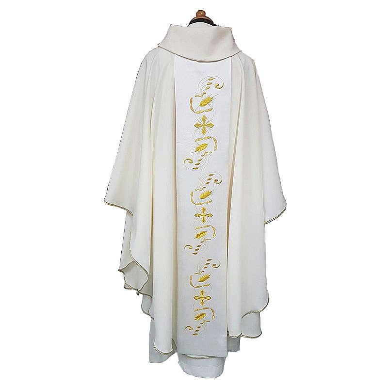 Casula stolone raso cotone ricamo davanti dietro 100% poliestere Vatican 4