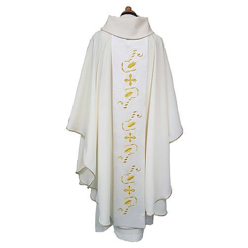Casula stolone raso cotone ricamo davanti dietro 100% poliestere Vatican 2