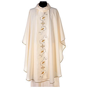 Monastic Chasuble with satin orphrey on front and back in Vatican fabric s1
