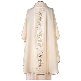 Monastic Chasuble with satin orphrey on front and back in Vatican fabric s5