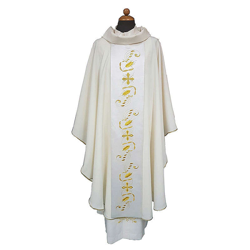 Chasuble with satin orphrey on front and back, ultra lightweight Vatican fabric 4
