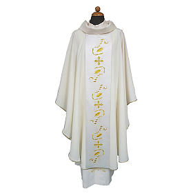 Chasuble with satin orphrey on front and back, ultra lightweight Vatican fabric s1
