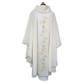 Chasuble with satin orphrey on front and back, ultra lightweight Vatican fabric s2