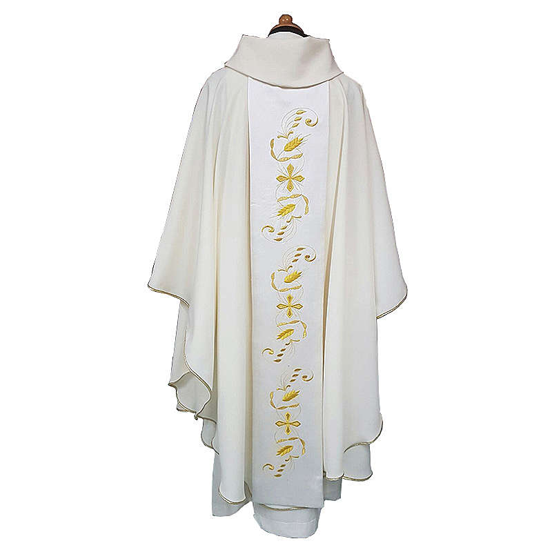 Gothic Chasuble with Roll Collar with satin orphrey on front and back, ultra lightweight Vatican fabric 4