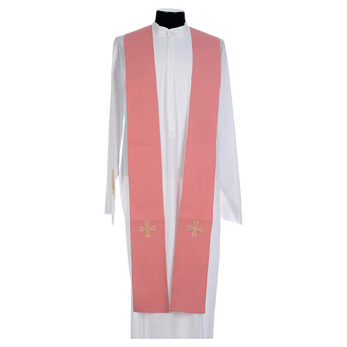 Chasuble rose 100% polyester inserts tissu croix brodée 8