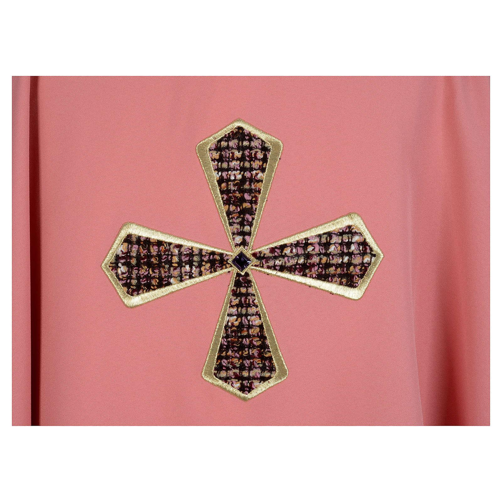 Ornat różowy 100% poliester wstawki tkaniny krzyż haftowany 4
