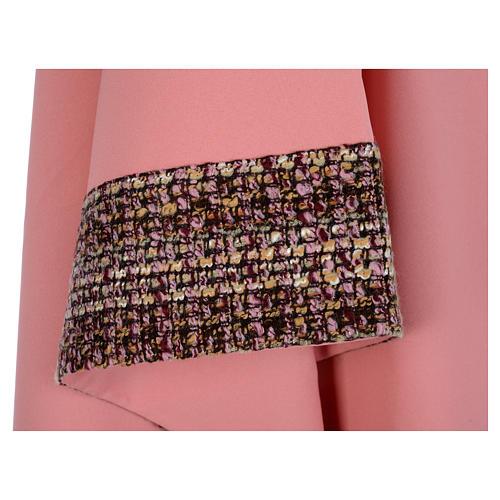 Ornat różowy 100% poliester wstawki tkaniny krzyż haftowany 5