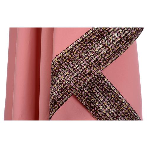 Ornat różowy 100% poliester wstawki tkaniny krzyż haftowany 7
