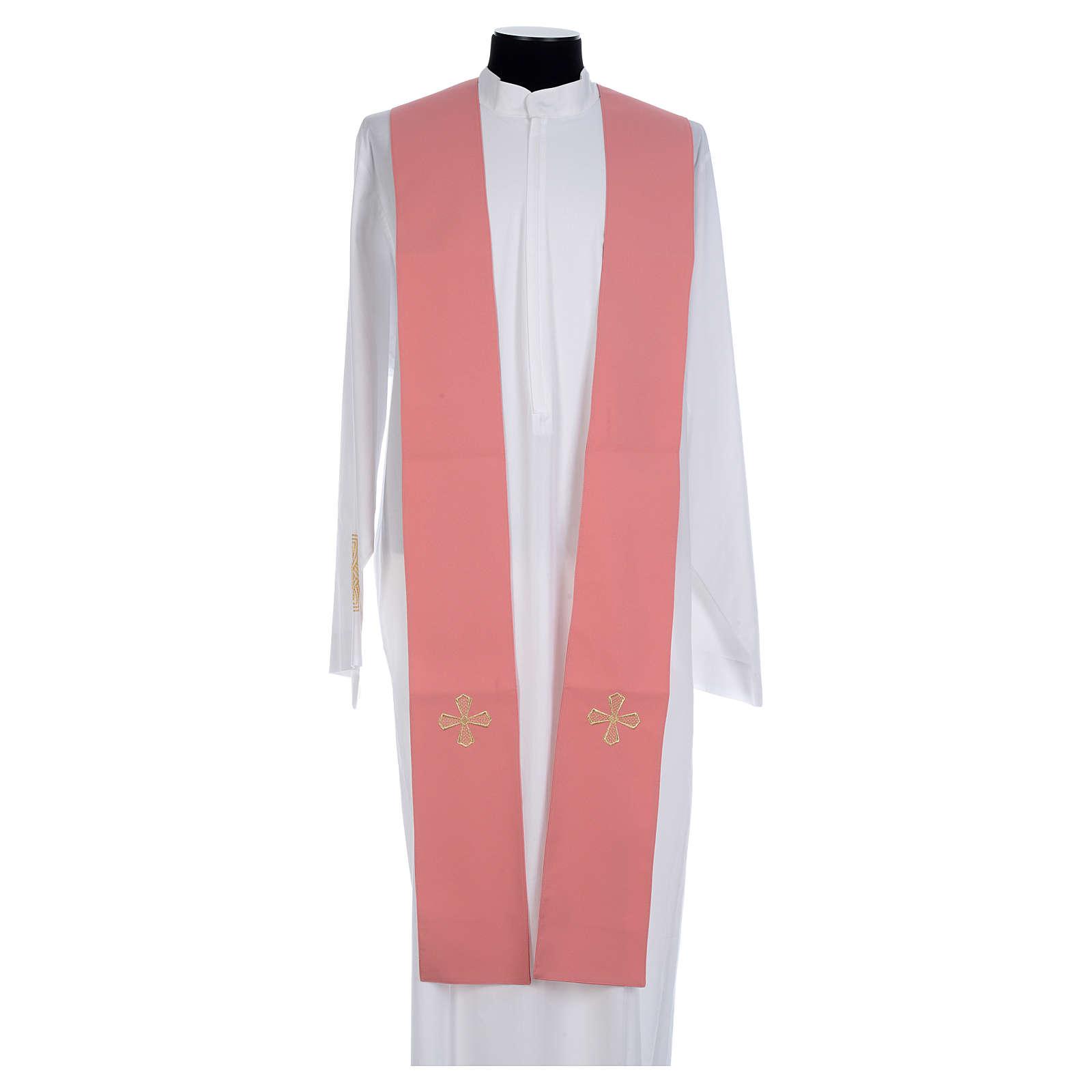 Casula cor-de-rosa 100% poliéster bandas aplicadas tecido cruz bordada 4