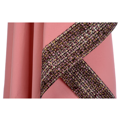 Casula cor-de-rosa 100% poliéster bandas aplicadas tecido cruz bordada 7