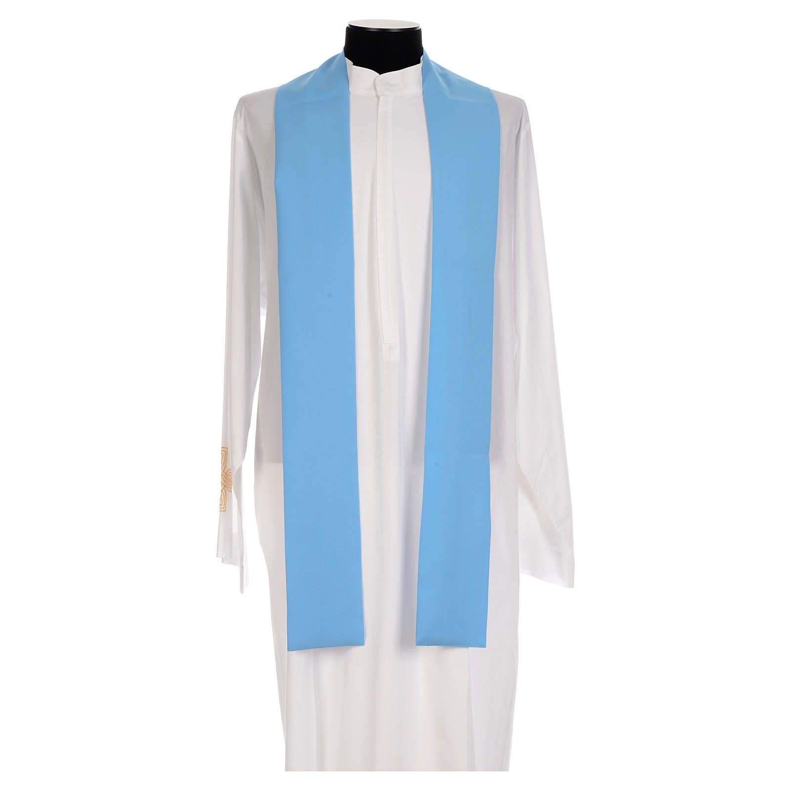 Blue chasuble in shiny polyester with Chi-Rho 4
