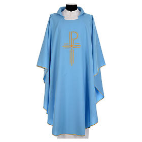 Chasubles: Blue chasuble in shiny polyester with Chi-Rho