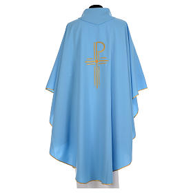 Blue chasuble in shiny polyester with Chi-Rho s2