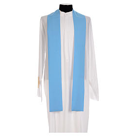 Blue chasuble in shiny polyester with Chi-Rho s5