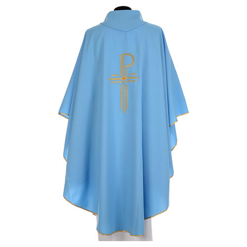 Blue chasuble in shiny polyester with Chi-Rho 2